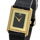 Baume Mercier Vintage Rectangular Case 37205 Black Lacquer/Gold Dial