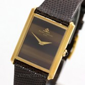 Baume Mercier Vintage Rectangular 18K Gold Tiger Eye Dial