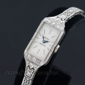 Gruen Lady Art Deco 14K Diamond Watch with Filigree Bracelet