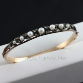 9K Antique Pearl & Rose Cut Diamond Bangle Bracelet