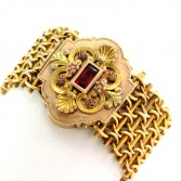 14K YG Antique Victorian Bracelet with Multi Color Decorative Cover
