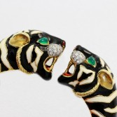 18K Gold Enamel Tiger Head Bangle Bracelet