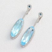 18K White Gold Blue Topaz Diamond Dangle Earrings
