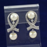 14KWG Pearl & Diamond Dangle Earrings