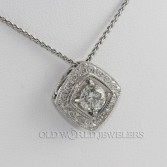 18K White Gold Custom Made 1.03ct Diamond Pendant