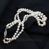 Double Strand Cultured Pearls with Platinum Diamond Clasp