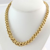 14K Yellow Gold Graduated Woven Vintage Necklace