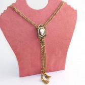 14K Yellow Gold Antique Cameo Slide Necklace with Tassels