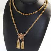 14K Double Link Enamel Tassel Necklace Pin