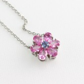 Platinum Tiffany & Co Pink and Blue Sapphire Necklace