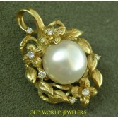 South Sea Pearl Pendant 18K Elaborate Floral Mounting