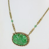 Carved Jade Necklace 14K Yellow Gold Walter Lampl