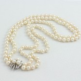 Double Strand Cultured 7.5mm Pearls 14K White Gold Pearl & Diamond Clasp