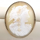 Antique Shell Cameo Brooch w/Gold Filled Frame