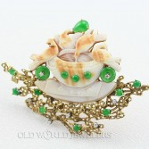 Vintage 14K Imperial Jade Diamond Brooch