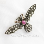 Antique 15K Victorian Insect Brooch Diamonds & Pink Topaz