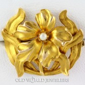 10K Antique Art Nouveau Flower Pin