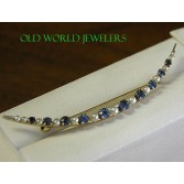 Antique 14K Yellow Gold Sapphire & Pearl Brooch