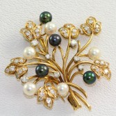 14K Black & White Pearl Brooch 1.50ct Diamonds