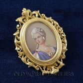 18K Antique Painted Portrait Brooch Pendant