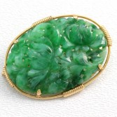Carved Mottled Jade Brooch Lotus Flowers 14K Gold