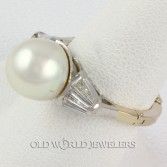 18K White Gold 10mm Pearl Diamond Baguette Ring