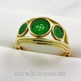 14K Hand Carved Jade Button Ring