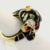 18K Yellow Gold Enamel Tiger Head Ring with Diamond & Emerald Accents