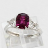 18K White Gold Classic Ruby Ring Trillion Diamonds