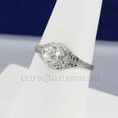 .73ct Diamond 18K White Gold Antique Filigree Ring