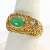14K Jade Diamond Ring Stipple Texture