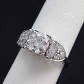 2.10ct European Cut Platinum Vintage Diamond Ring