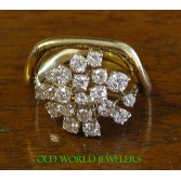 14K Diamond Cluster Ring Square Shank