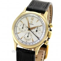 Omega Vintage 3 Register Chronograph Ref 2451 14K Yellow Gold