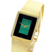 Omega Dress Watch Ref DD6908 14K Gold Malachite Onyx Dial