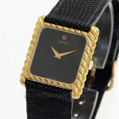 Omega Vintage Square Case 18K Yellow Gold Black Lacquer Dial