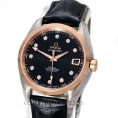 Omega Seamaster Aqua Terra 231.23.39.21.51.001 18K Rose Gold Steel Black Diamond Dial