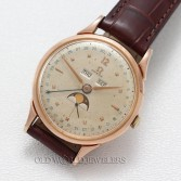 Omega Vintage 1940s 3 Date Moon Phase Rose Gold Plated