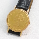 Piaget 18K Mid Size Wrist Watch $10 Dollar 1881 Liberty Coin