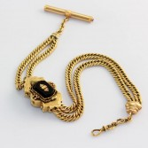 14K Antique Double Curb Link Onyx Slide Watch Chain
