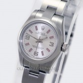 Rolex Lady Oyster Perpetual Ref 176200 Steel Silver/Pink Markers
