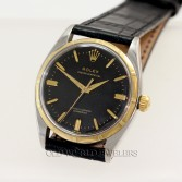 Rolex Vintage Oyster Perpetual Ref 6565 Steel Gold Black Dial