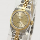Rolex Lady Oyster Perpetual 67193 Steel 18K Gold Champagne Dial