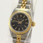 Rolex Oyster Perpetual Ref 67193 18K Gold Steel Black Stick Dial