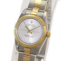Rolex Lady Zephyr Oyster Perpetual 76243 Gold Steel Silver Dial