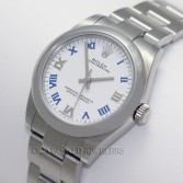 Rolex Midsize Oyster Perpetual Ref 177200 Steel White Dial with Blue Roman
