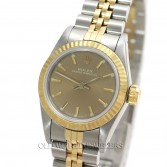 Rolex Lady Oyster Perpetual No Date Ref 69173 18K Gold Steel Bronze Dial