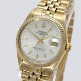Rolex Oyster Perpetual Ref 15037 14K Yellow Gold Silver Stick Dial