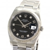 Rolex Date Ref 115234 Steel 18K Gold Bezel Black Diamond Dial