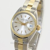 Rolex Lady Vintage Date Ref 6917 18K Gold Steel Silver Stick Dial